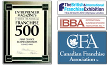 Image of affiliations and Citations of Entrepreneur Magazines Franchise 500, The British Franchise Exhibition, IBBA, and Canadian Franchise Association